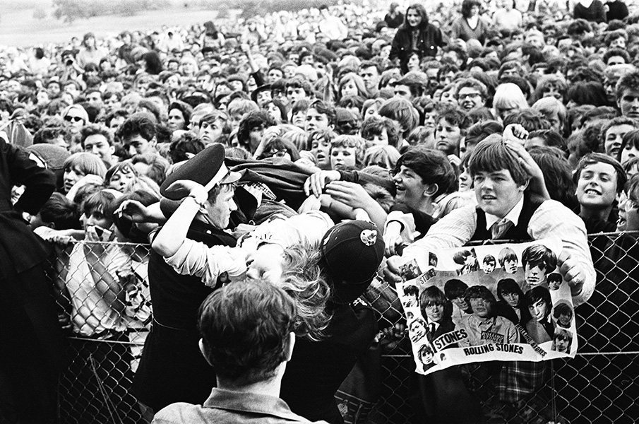 Fans at the front of the stage at the Rolling Stones concert at Longleat Estate, England, Aug. 2,1964.